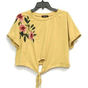 Jeuvre Knot Front Cuffed Embroidered Tee